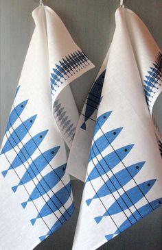 Linen Cotton Dish Towels Fish Blue White  Tea by Coloredworld, $17.90