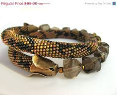 ON SALE Bead Crochet Necklace Python Gift under 100 by LeeMarina, $78.40