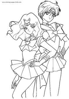 Sailor Uranus & Neptune Coloring Page | Desenhando esboços ...