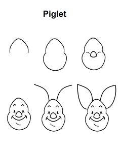 Piglet step-by-step drawing tutorial. Piglet step-by-step drawing tutorial. Disney Drawing Tutorial, Easy Drawing Tutorial, Easy Drawing Steps, Step By Step Drawing, Easy Disney Drawings, Disney Character Drawings, Cute Easy Drawings, Doodle Art For Beginners, Drawing Tutorials For Beginners