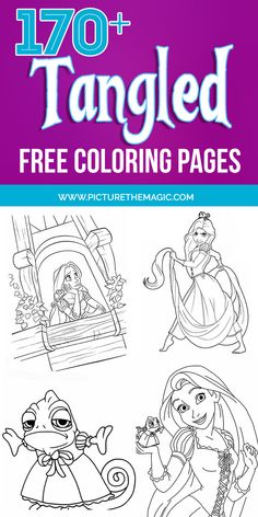 Over 170 FREE Tangled Coloring Pages! Includes Rapunzel coloring pages, Flynn Rider, Max and Pascal too. Rapunzel Tangled Movie, Pascal Tangled, Rapunzel And Eugene, Disney Rapunzel, Rapunzel Coloring Pages, Disney Coloring Pages, Free Coloring Pages, Coloring Books, Colouring