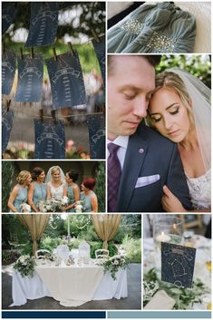 Starry Night Themed Garden Wedding with a Dark and Light Blue Color Palette