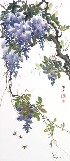 Chinese Brush Painting: wisteria triptych with bees and sparrows Japanese Painting, Chinese Painting, Watercolor Flowers, Watercolor Paintings, Watercolors, Asian Artwork, Art Chinois, Art Asiatique, Art Japonais