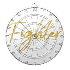 GOLD MARKER FIGHTER SCRIPT MOTIVATION GEAR DARTBOARD WITH DARTS - classic gifts gift ideas diy custom unique