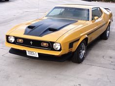 Ford Mustang Mach 1 in Goldenrod Yellow with its original H-code and just miles on the odometer. Equipped with the original three-speed manual transmission, power steering, power brakes and the optional stripe package. 1973 Mustang, Mustang Mach 1, Ford Mustang Fastback, Mustang Cars, Vw Samba Bus, Ford Mustang Shelby, Shelby Gt500, Classic Mustang, American Muscle Cars