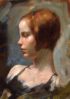 """""""Emily"""" - Max Ginsburg {contemporary figurative artist beautiful female redhead woman face portrait profile cropped painting} ginsburgillustration.com"""