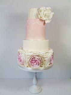 Pretty in pink- omber ruffle wedding cake - by littlemissfairycake @ CakesDecor.com - cake decorating website