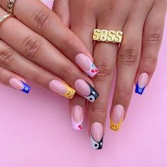 French Tip Acrylic Nails, Simple Acrylic Nails, Best Acrylic Nails, Bright Nails, Funky Nails, Edgy Nails, Drip Nails, Get Nails, French Nail Designs