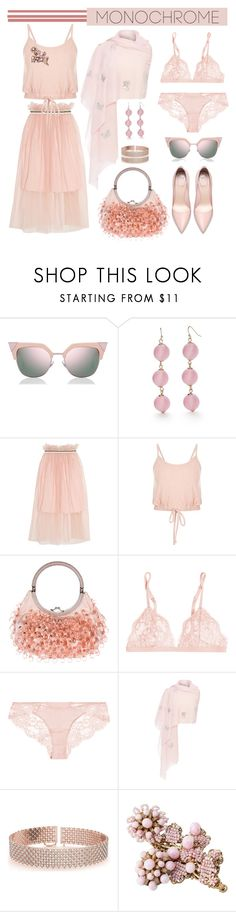 """""""Monochrome"""" by bravo1755 ❤ liked on Polyvore featuring Fendi, New Directions, Mother of Pearl, Valentino, La Perla, Janavi, Allurez and Miriam Haskell"""