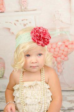 Coral Satin Flower Pom Headband-Flower Girl Headband-Newborn Headband-Singed Flower Headband-Birthday Headband-Baby Headband-Mint Coral by LosBowtique on Etsy https://www.etsy.com/listing/197260759/coral-satin-flower-pom-headband-flower