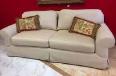 Ferguson Copeland Overstuffed Sofa. Super high quality and comfort. Down cushions, roll arms, silky soft durable herringbone tweed. 90 in. long, 37 deep. Matching chairs available. SOLD