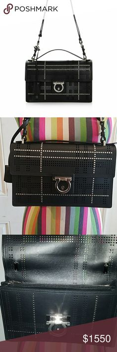 LABOR DAY PRICE AS POSTED   Ferragamo shoulder Bag AUTHENTIC 100% EXCLUSIVE Salvatore  Ferragamo Alieen shoulder Bag. Exclusively made for Bloomingdales ONLY and will NOT find with  other retailers.  With duster bag  and authenticity papers Salvatore Ferragamo Bags Shoulder Bags