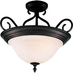 Illumine 3-Light Semi-Flush Mount with Marble Glass - Kentucky Bronze-HD-MA40334257 at The Home Depot