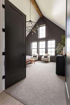 Black Modern Farmhouse with Black & White Interiors Farmhouse Master Bedroom, Home Bedroom, Black Master Bedroom, Bedroom Ideas, Bedroom Doors, Modern Farmhouse Interiors, White Interiors, Interior Design Farmhouse, Modern Rustic Homes