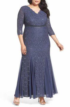 Alex Evenings Embellished Waist Sequin Lace Dress (Plus Size)