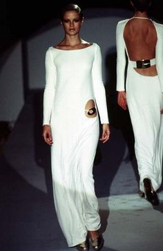 Gucci Fall 1996 iconic white jersey gown Anything that Tom Ford did for Gucci, just STEAL IT! Bring it home! It's all good!