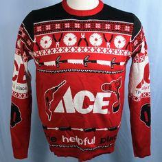 Ace Hardware Ugly Christmas Tools Snowflakes Nordic The Helpful Place Sweater XL…