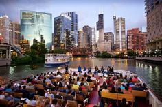 Explore Chicago's architecture from the water. During the warm months, boat cruises take tourists and residents on a tour of the Chicago River and Lake Michigan.