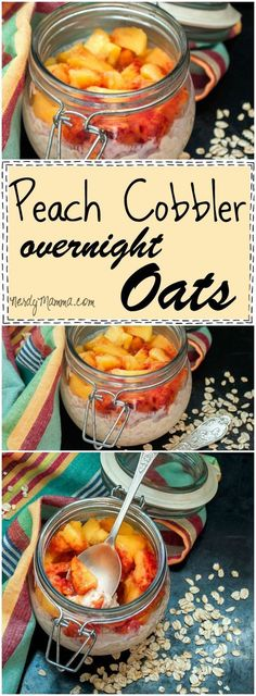 Oh, this recipe for Peach Cobbler Overnight Oats is so awesome. I love how easy this is!
