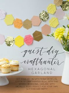 DIY gold fringed hexagon garland