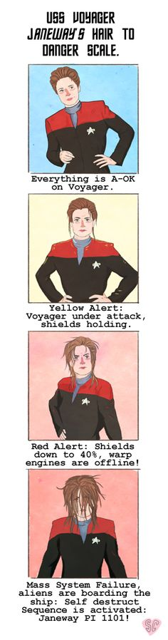 "ladytimelords: ""sarcochrane: ""Me and the Mrs have been watching a lot of Star Trek voyager as of late, we have noticed a correlation between Janeway's hair and impending doom. Here is a scale. "" this is possibly the most accurate thing I have ever..."