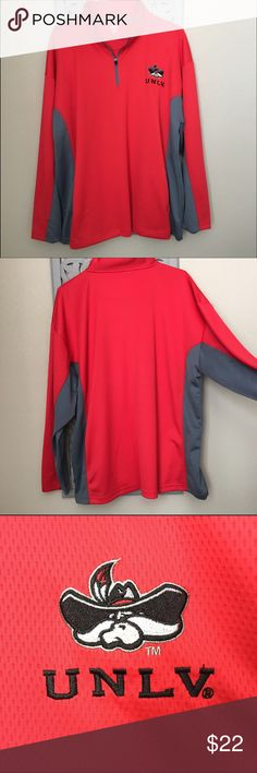 UNLV Men's Half Zip Pull-over Perfect for any UNLV college fan! This half zip pull-over is in great condition! The gray side lining runs from the end of the sleeve to the bottom of the side. Very cozy and comfortable! Sweaters Zip Up