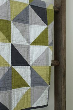 grey and green geometric quilt. by CB Handmade, via Flickr