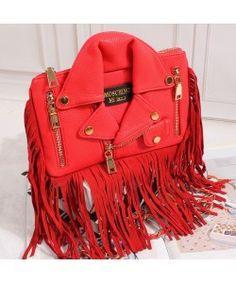 Moschino Jacket Pattern Womens Tassel Clutch Red