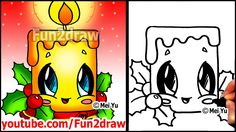 How to Draw Christmas Pictures - Candle + Holly Decoration - Fun2draw Ea...
