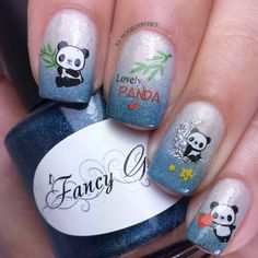 Cute Panda Water Decals from BPS. Full details on this mani and how I created it can be found on my blog ManicuredandMarvelous.com #nails #nailart #naildesign #cutenails