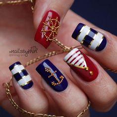 Maritime nails, anchor, chevron, steering