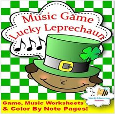 Music Game {Lucky Leprechaun comes with fun music worksheets} Music Lesson Plans, Music Lessons, Fun Music, Music Games, Rhythm Games, Music Worksheets, Music Composers, Music Activities, Elementary Music