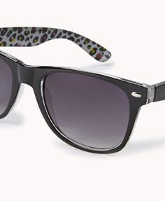 F9607 Leopard-Lined Wayfarer Sunglasses