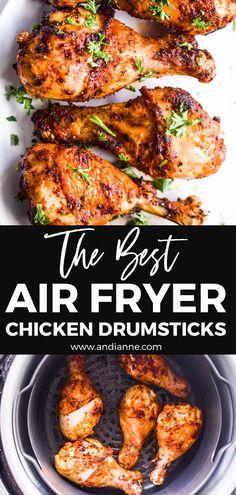 Air Fryer Oven Recipes, Air Frier Recipes, Air Fryer Dinner Recipes, Air Fryer Fried Chicken, Fried Chicken Recipes, Air Fry Chicken, Air Fryer Chicken Tenders, Air Fryer Drumstick Recipe, Easy Chicken Drumstick Recipes