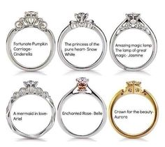 Disney themed wedding rings... now these i can get behind... I like the simplicity. Now if they put an emerald in the Ariel ring... it is a winner.