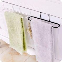 It Can hold the towels,cleaning rags,aprons or other little things. Two hooks for hanging on the door or cabinet, saving space. #studioapartmentstorage