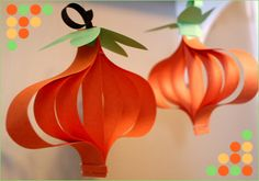 DIY Craft: Paper Pumpkin Ornaments: A simple and easy craft project to do with your kindergarten students to prep for Halloween and Thanksgiving. Autumn Activities For Kids, Halloween Crafts For Kids, Homemade Halloween, Holiday Crafts, Kids Crafts, Preschool Halloween, Paper Halloween, Halloween Ideas, Halloween Jamie
