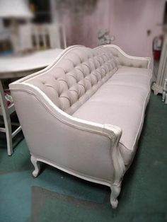 Antique French Linen Tufted Sofa by DeerStopVintageHome on Etsy, $2250.00