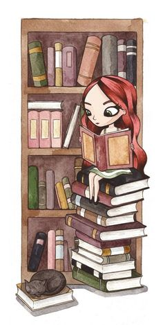 This might as well be a self-portrait ... long red hair, surrounded by piles of books and a furbaby (except with me, it would be MANY furbabies).