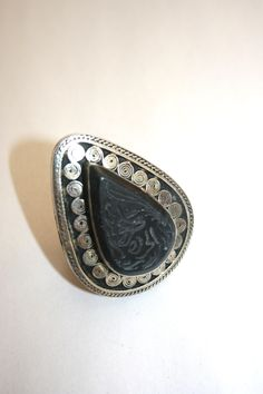 Turkish tribal ring.    this amazing OOAK Turkish ring is made from nickel and brass with a jet stone.    Size approx 5×6.5cm fits middle or index fingers diameter approx 7cm.