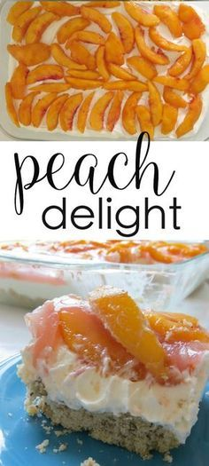This Peach Delight recipe is a crowd-pleasing favorite! peach desserts cream cheese desserts This peach delight recipe is a crowd pleasing favorite. Made in a 9 x 13 baking dish, it's layered with fresh peaches, whipped topping, and cream cheese. Brownie Desserts, Oreo Dessert, Mini Desserts, Coconut Dessert, Cream Cheese Desserts, Layered Desserts, Dessert Bars, No Bake Desserts, Easy Desserts