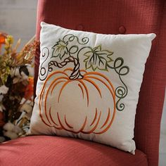 Embroidered Pumpkin Pillow   Kirklands
