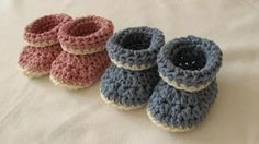 very easy crochet cuffed baby booties tutorial - roll top baby shoes for beginners - YouTube