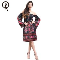 Fairies tell Boho floral print split mini dress Women Retro Palace style  dress Eleagnt Off Shoulder 6b9d950f9009