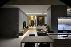 High Lounge is a loft apartment designed by ArchObraz architectural studio founded by architect Alex Obraztsov. The stylish loft won . Modern Interior Design, Home Design, Interior Architecture, Minimalist Interior, Moderne Pools, Roof Structure, Ceiling Decor, Ceiling Lighting, Vintage Decor