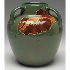 Fine Weller Rhead vase three handled form : Lot 251