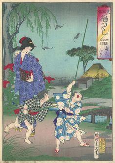 Children Chasing Flying Bats by Toyohara Chikanobu 豊原 周延 (Japanese Print)