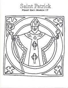St Patrick Catholic Coloring Page Feast Day is March 17