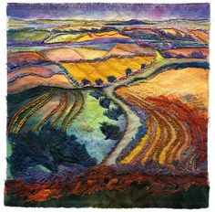 Hawthorns on Walkers Hill 1 by Margaret M Roberts, via Flickr Textile Fiber Art, Fibre Art, Fiber Art Quilts, Chenille Quilt, Patchwork, Reverse Applique, Mural Wall, Felting, Quilt Art