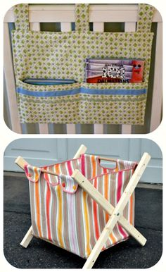 Crib Toy/Book Holder Tutorial ~ Here is a quick tutorial for a little hangy thingy for your child's crib…) DIY Laundry Hamper {Tutorial} ~ Check out this super fabulous laundry hamper Baby Sewing Projects, Diy And Crafts Sewing, Baby Crafts, Sewing For Kids, Free Sewing, Handmade Baby Items, Crib Toys, Diy Bebe, Laundry Hamper